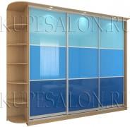 образец вместительного шкафа купе с цветным стеклом на заказ