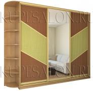 необычный дизайн шкафа купе с ротангом в гостиную