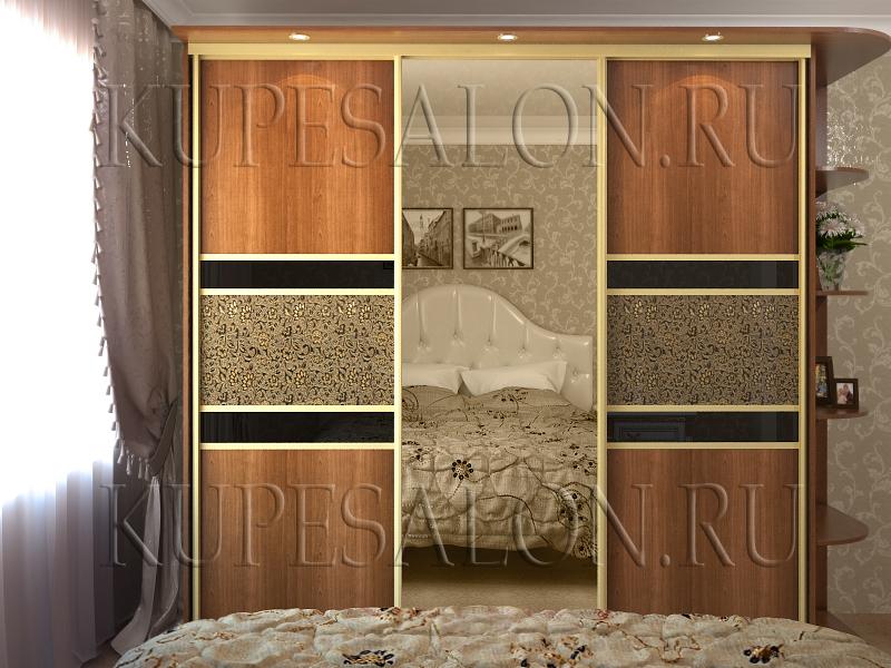 стильный корпусный шкаф купе в спальню с зеркалом