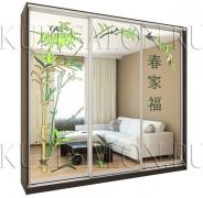 зеркальный шкаф купе с яркими витражами в гостиную