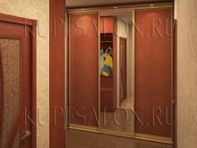 встроенный шкаф купе с зеркалом в коридор классика