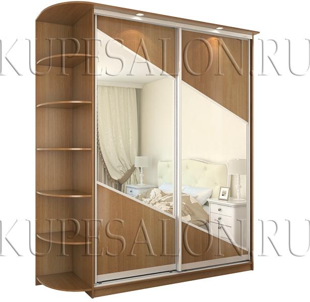 двухдверный шкаф купе с зеркальными вставками в спальню фото