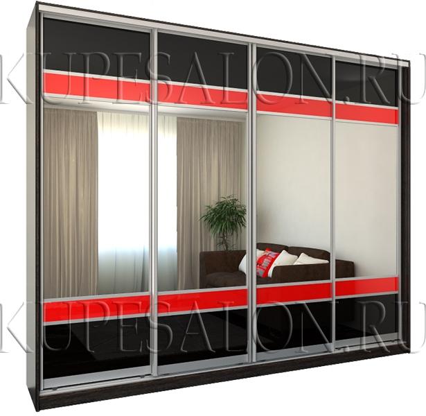 четырехдверный черный шкаф купе с зеркалом в гостиную