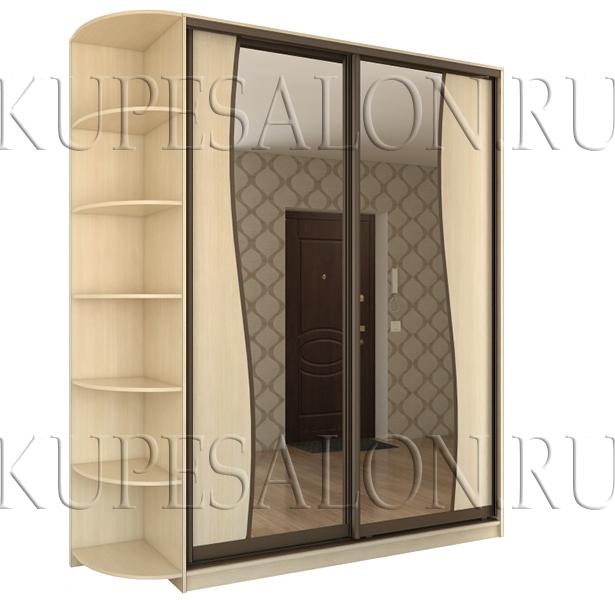 недорогой шкаф купе зеркальный белый фото