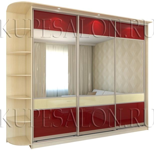 современный трехдверный шкаф купе с зеркальным фасадом фото