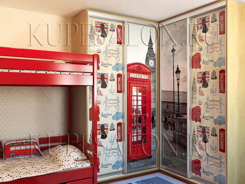 угловой стильный шкаф купе в детскую спальню