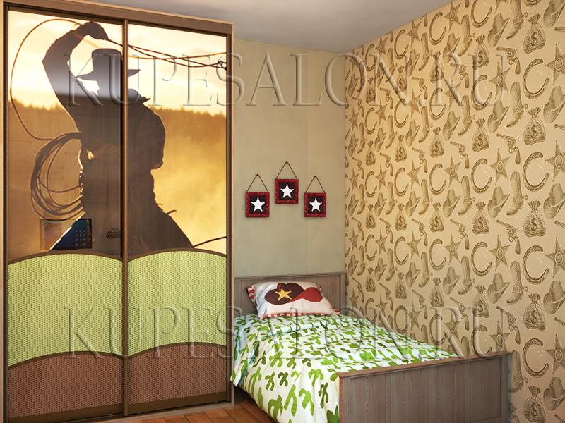 детская комната с двухдверным шкафом купе фото