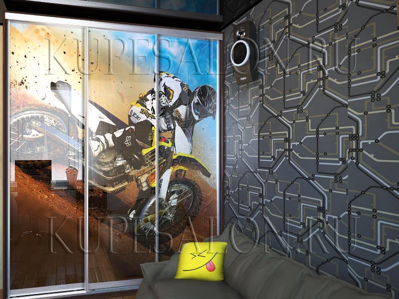современный трехдверный шкаф купе для детской мальчика