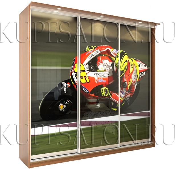 современный шкаф купе с фотопечатью на фасаде фото