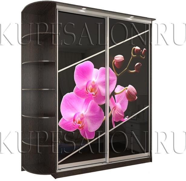 черный элегантный недорогой шкаф купе с фотопечатью