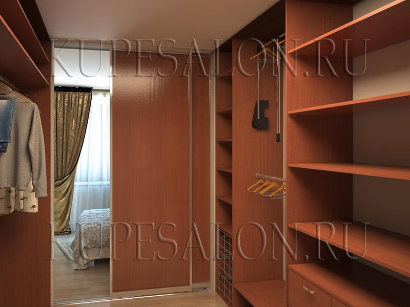планировка встроенной гардеробной купе в спальне