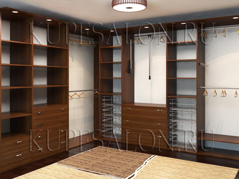 интерьер большой гардеробной в квартире или в доме