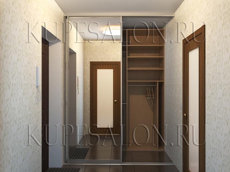 встроенная гардеробная с зеркальными дверями купе