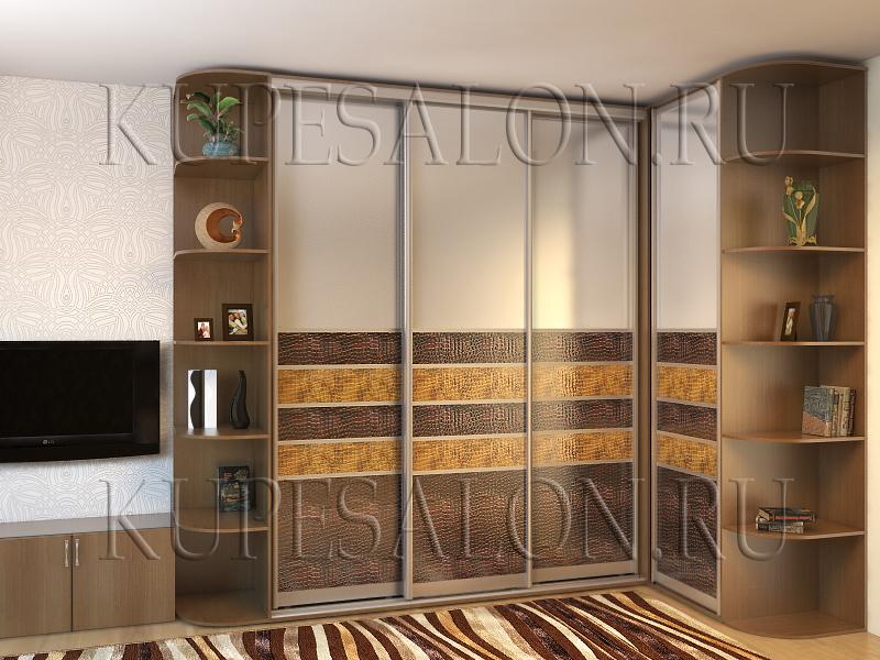 большой стильный угловой шкаф купе в гостиную