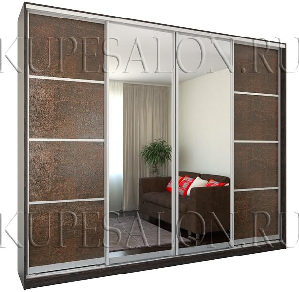 классический четырехдверный шкаф купе с экокожей и зеркалом