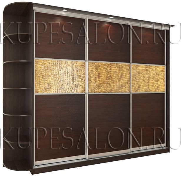 стильный шкаф купе с экокожей и бамбуком фото