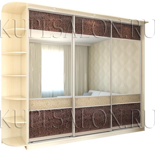 элегантный шкаф купе с экокожей и зеркалом в гостиную
