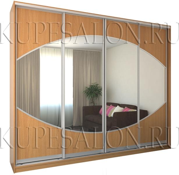 необычный шкаф купе из лдсп и с зеркалом в спальню
