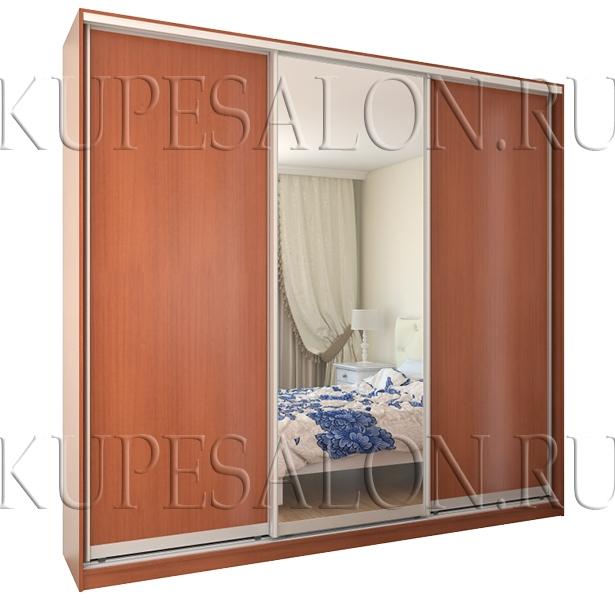 классический шкаф купе из лдсп с зеркалом для спальни