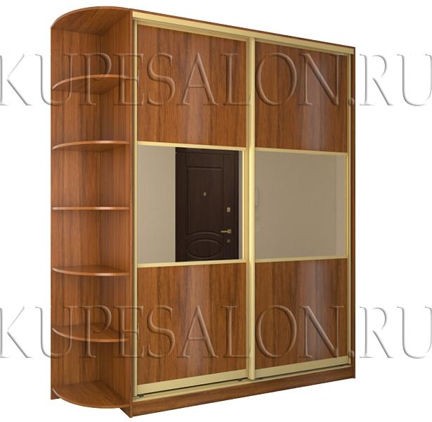 двухдверный шкаф купе с зеркалом и ламинированным дсп