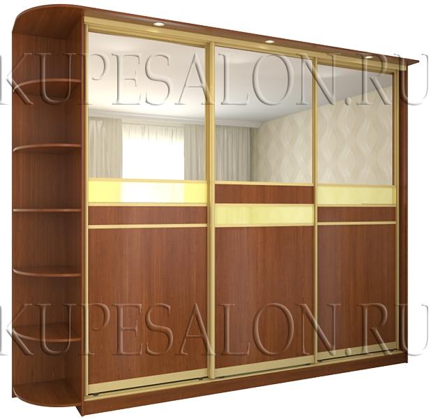 оригинальный шкаф купе с зеркалом и ламинированным дсп