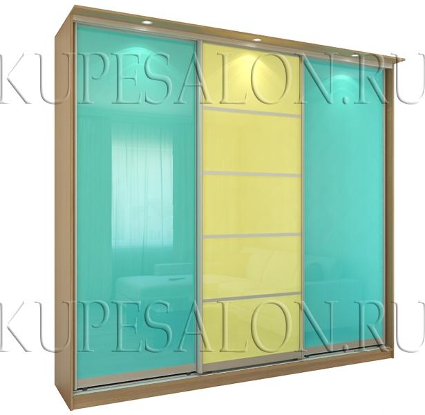 вариант дизайна шкафа купе с цветным стеклом на заказ