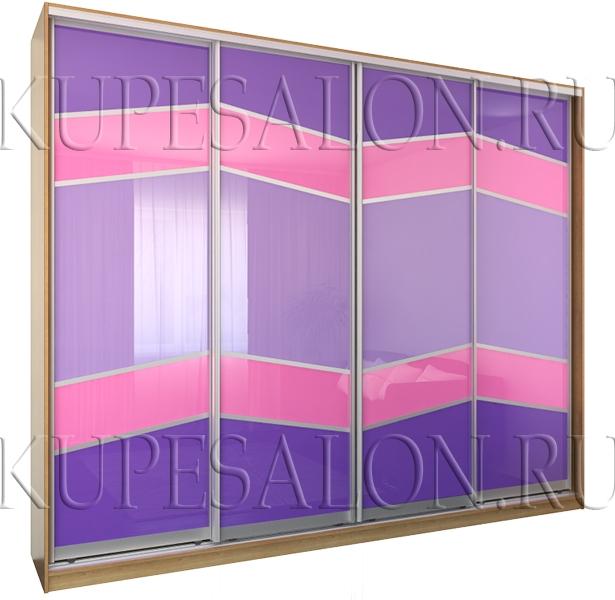 большой четырехдверный яркий шкаф купе с цветным стеклом