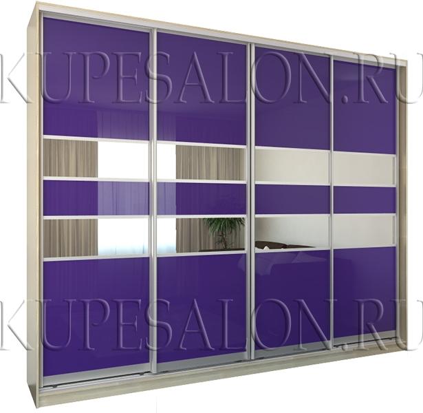 четырехдверный современный шкаф купе с цветным стеклом на заказ
