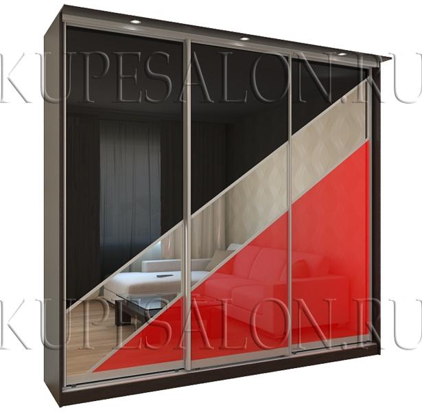 нестандартный дизайн шкафа купе с оракалом в гостиную