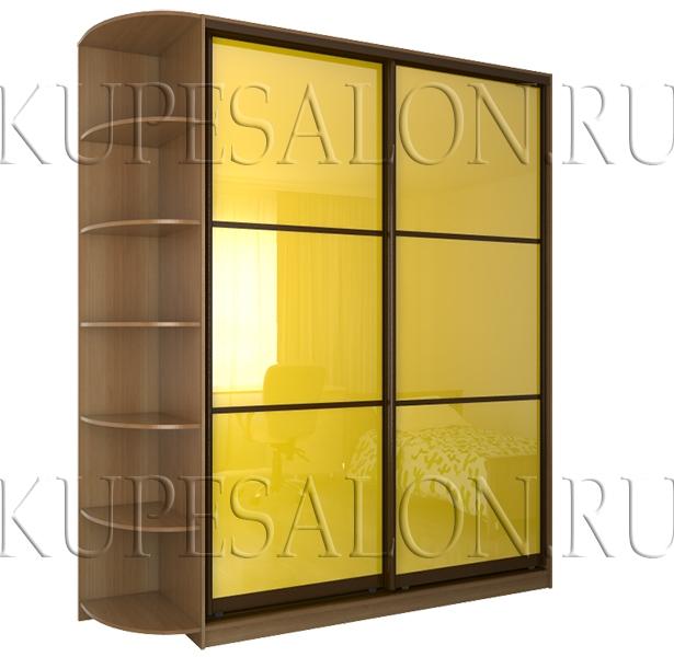 вариант недорогого шкаф купе с цветным стеклом на фасаде