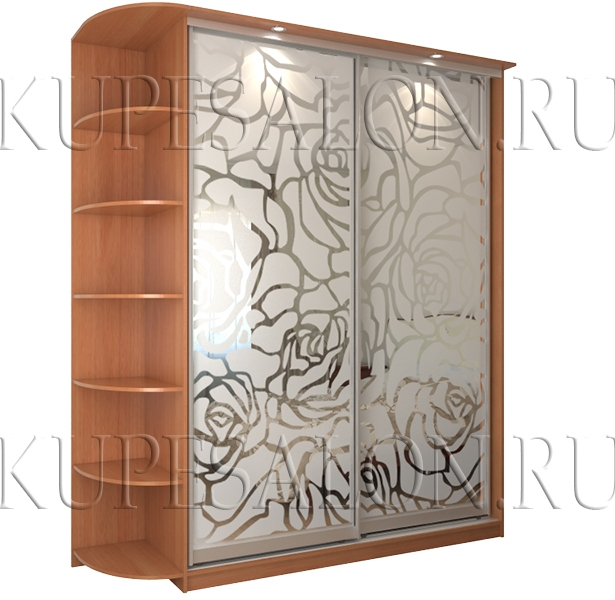 небольшой двухдверный шкаф купе с необычным пескоструйным рисунком