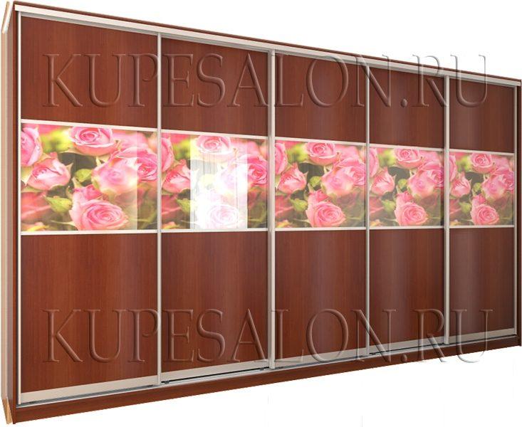 образец классического шкафа купе с 5 дверями с фотопечатью