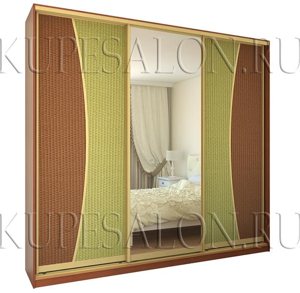 современный шкаф купе с ротангом и зеркалом в спальню