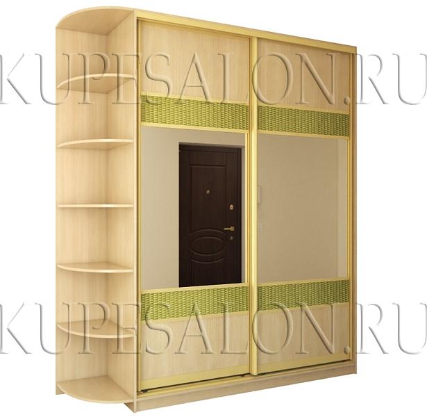 светлый шкаф купе с ротангом и зеркалом в коридор