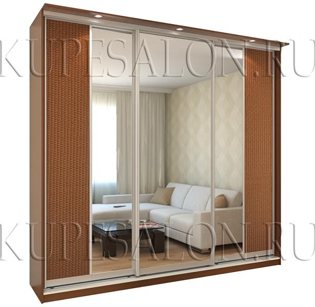 классический шкаф купе с ротангом и зеркалом для гостиной