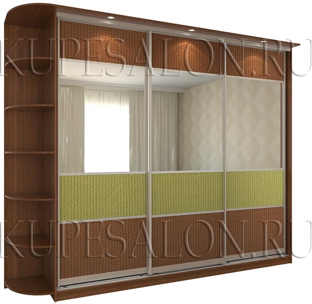 оригинальный трехдверный шкаф купе с ротангом и зеркалом