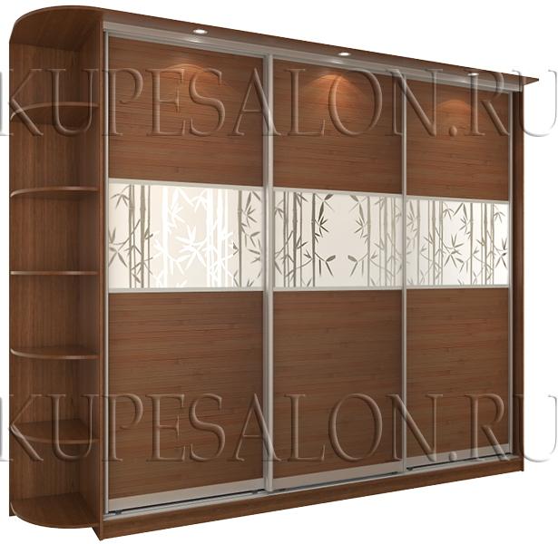 пример стильного трехдверного шкафа купе с бамбуком
