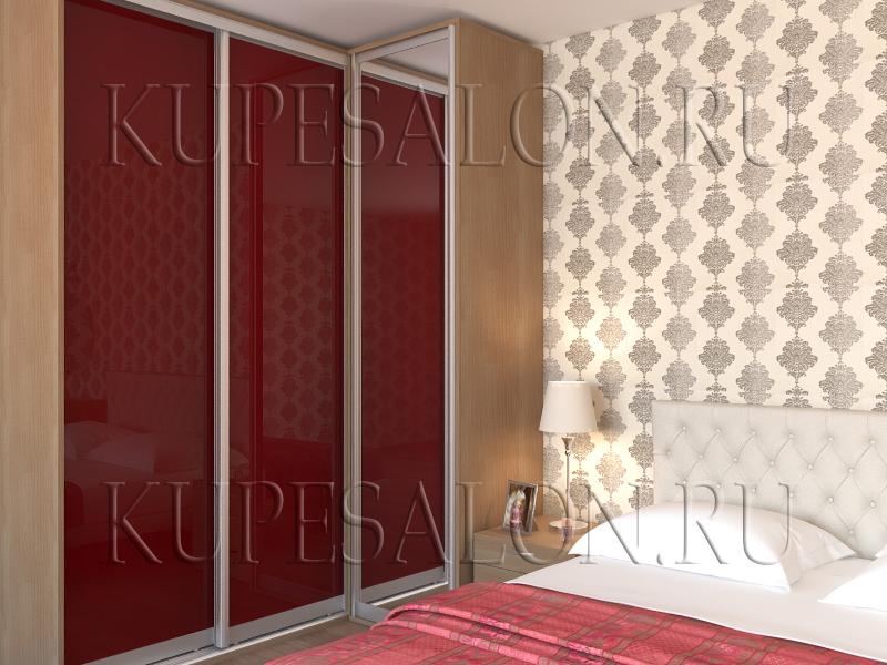 стильный дизайн углового шкаф купе в спальню