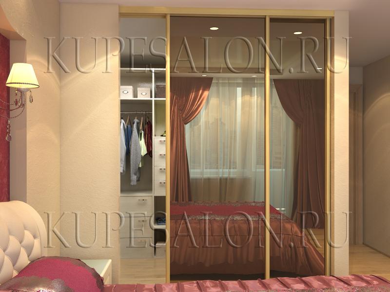 большой шкаф купе гардеробный зеркальный в спальню