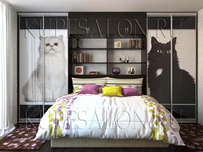 дизайн спальни с двухдверными шкафами купе фото