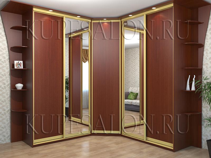 большой шкаф купе угловой с зеркалом в гостиную