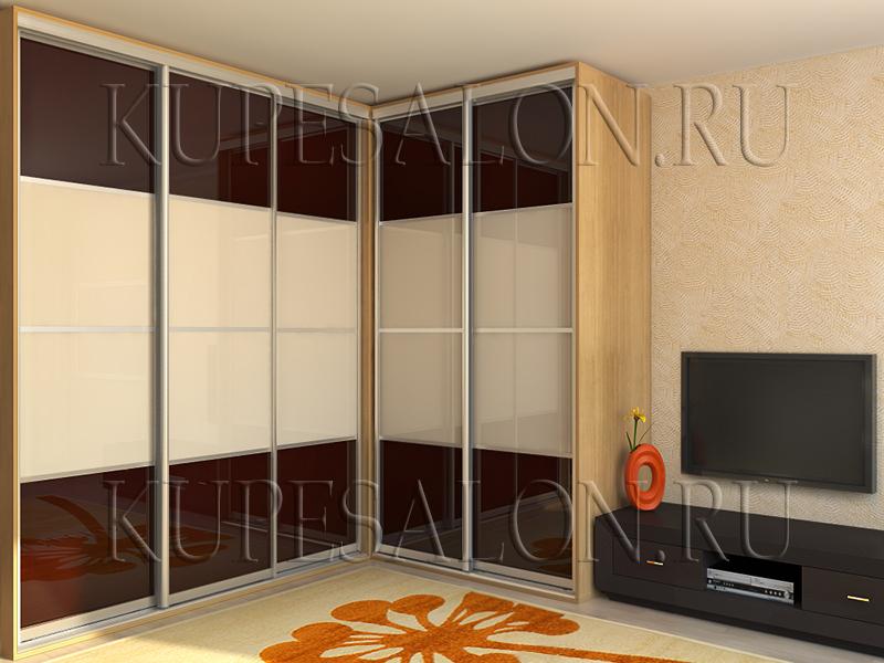 угловой шкаф купе большого размера в комнату фото