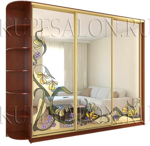 красивый трехдверный шкаф купе с зеркальными дверями на заказ