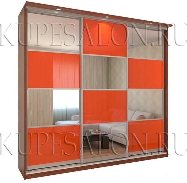 трехдверный шкаф купе с зеркальными вставками в гостиную на заказ
