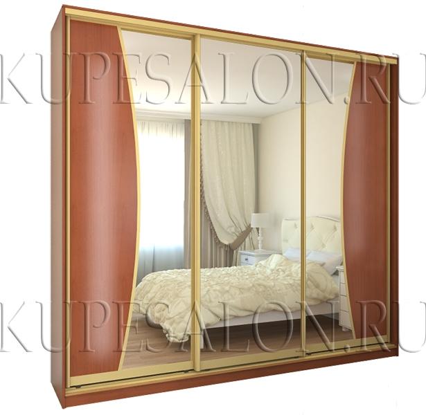 трехдверный зеркальный шкаф купе в спальню фото