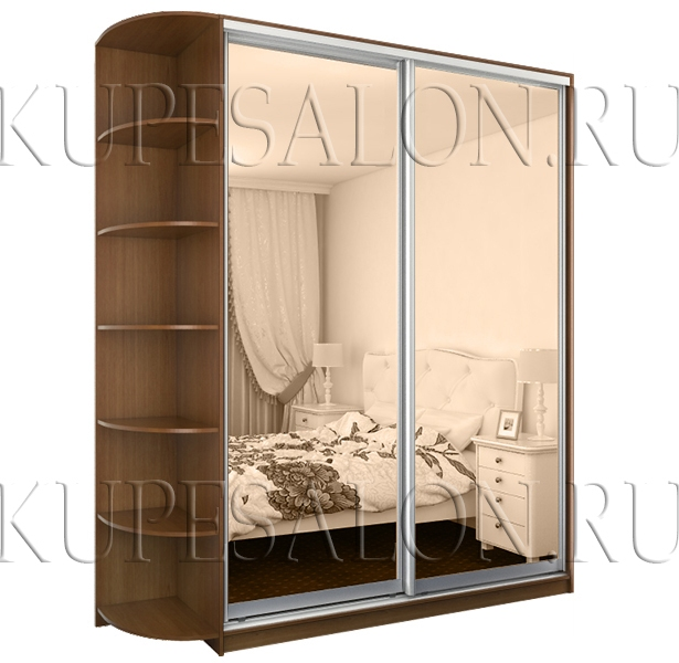 небольшой двухдверный шкаф купе с зеркалом в спальню