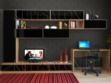 современная черная мебельная горка в гостиную