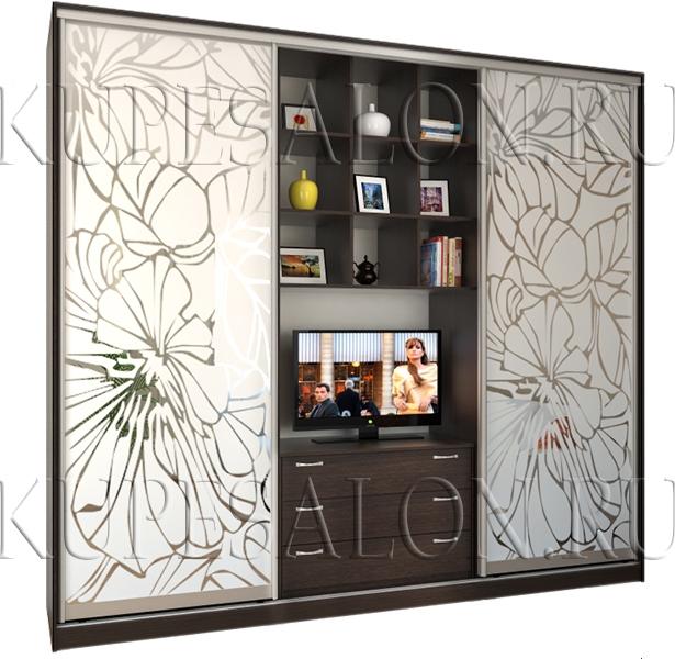 образец дизайна шкаф купе с телевизором в комнату