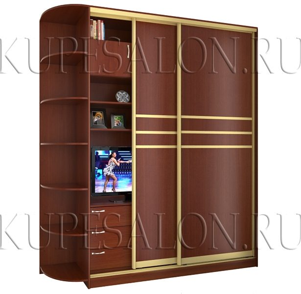 недорогой классический шкаф купе с телевизором на заказ