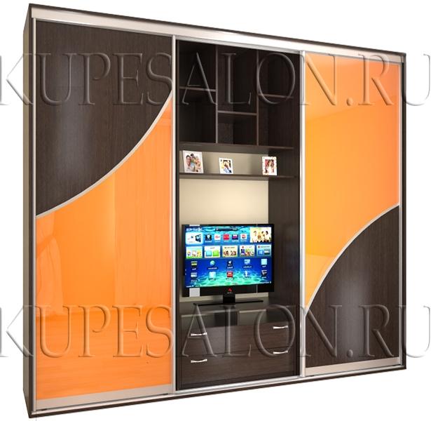 стильный небольшой шкаф купе под телевизор на заказ